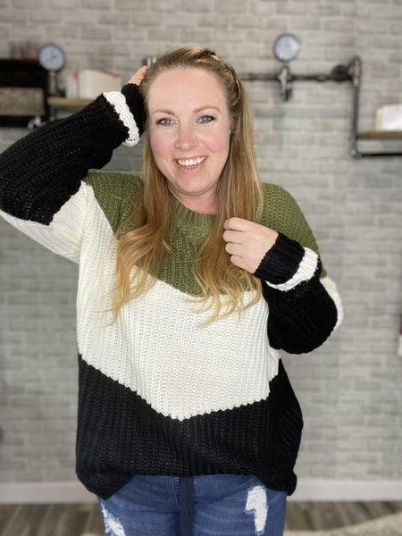 Chevron Color Block Sweater Pullover