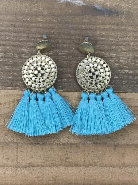 Circle Tassel Drop Earrings