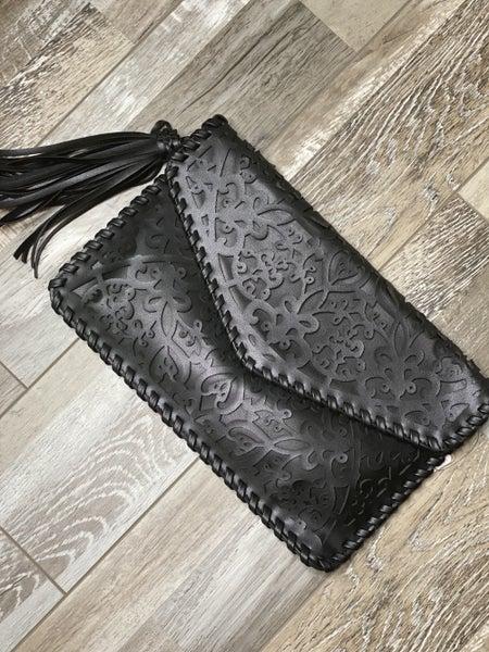 Leather Cutout Clutch