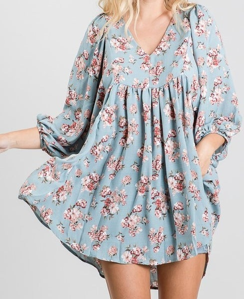 Floral Print Puff Sleeve Tunic