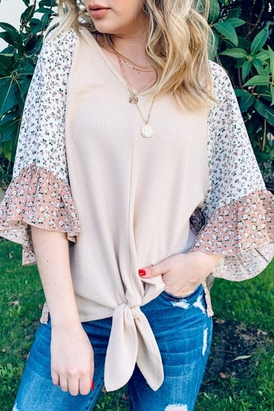 Waffle Front Tie Top