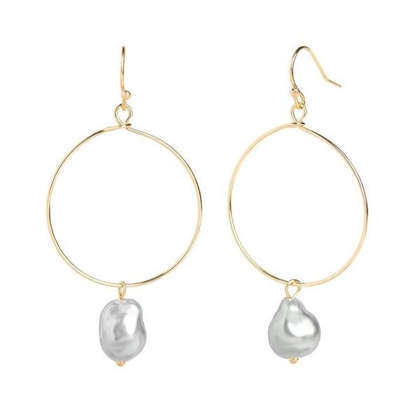 GOLD HOOP PEARL DANGLE EARRINGS - GREY