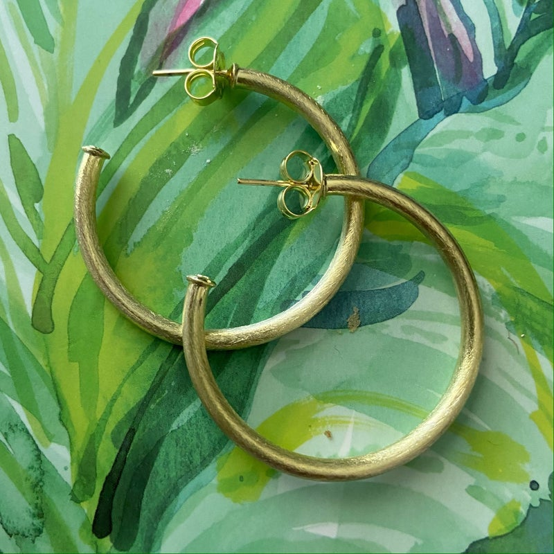 Small Favorite Hoops Brushed Gold