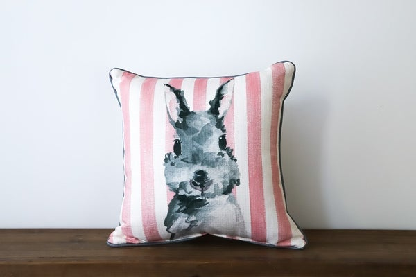 Pink Striped Bunny Pillow