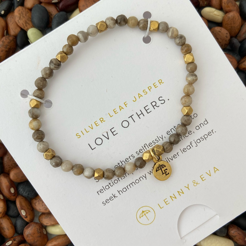 Silver Leaf Jasper Love Gemstone Bracelet from $25