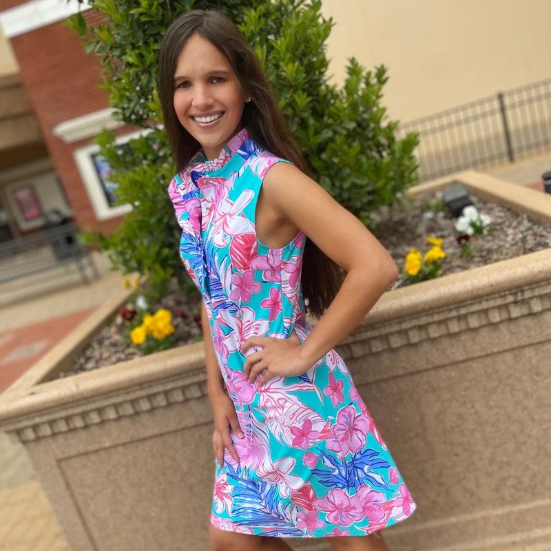 Pink & Aqua Sleeveless Collar Dress Aryeh