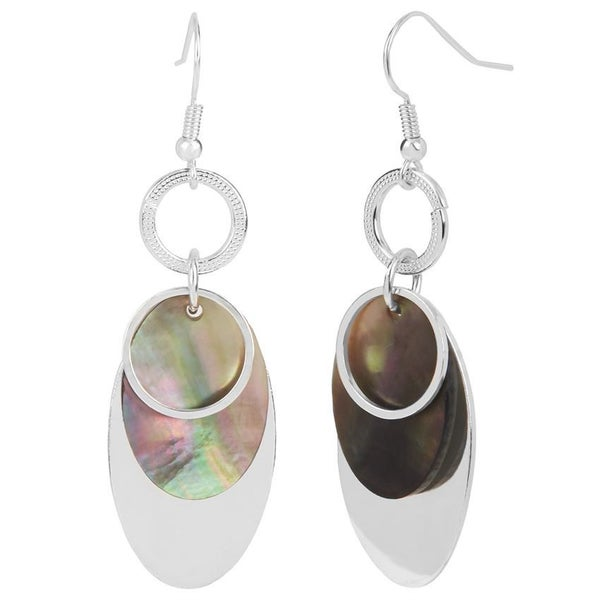 SILVER OVERLAY WITH ABALONE DANGLE