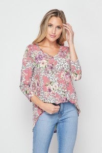 Honeyme Leopard Floral Tunic