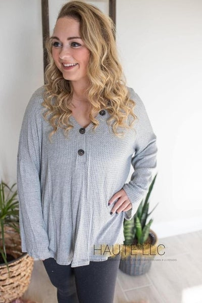 FF Button Trim Waffle Knit Top- Grey