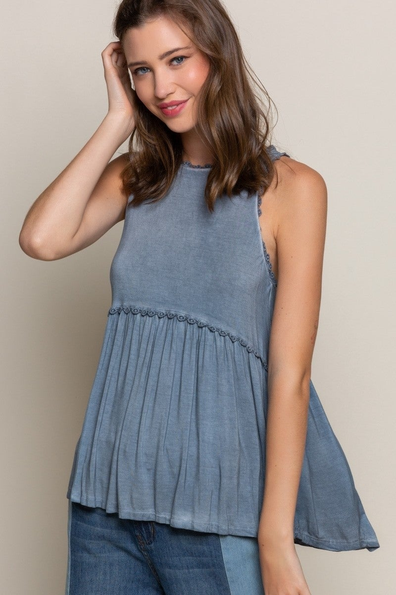 PREORDER Sweet and Simple Babydoll Knit Top- Midnight Blue