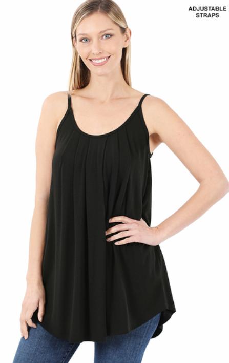Priscilla Pleated Camisole - Black