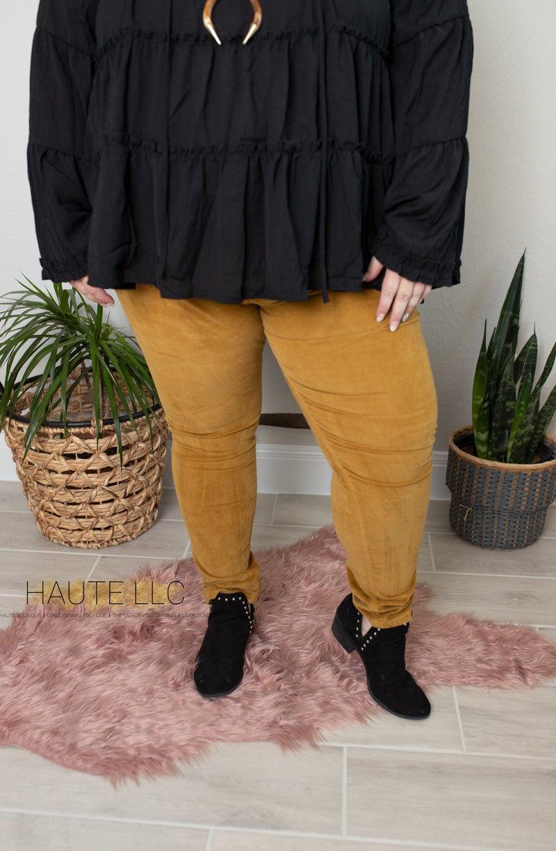 LB Mustard Midrise Skinny Corduroy Pants