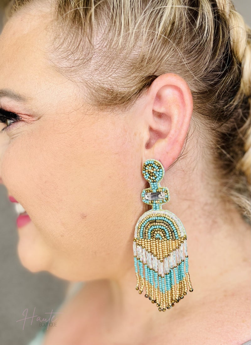 Turquoise & Gold Statement Tassel Earrings