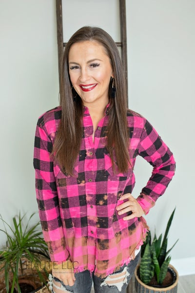 Pink & Black Checker Flannel