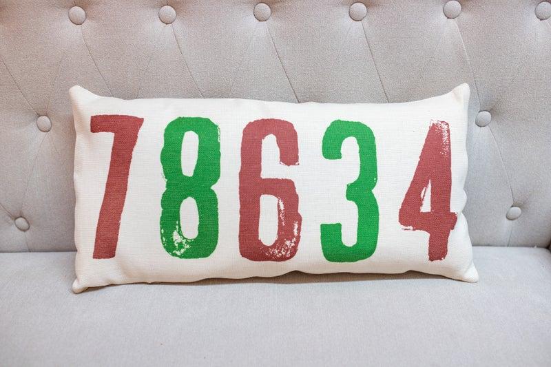 Red & Green Zip  Code Pillow