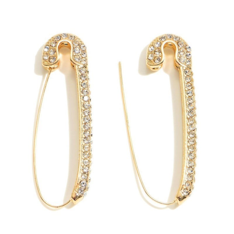 Rhinestone Safety Pin Earrings - Gold