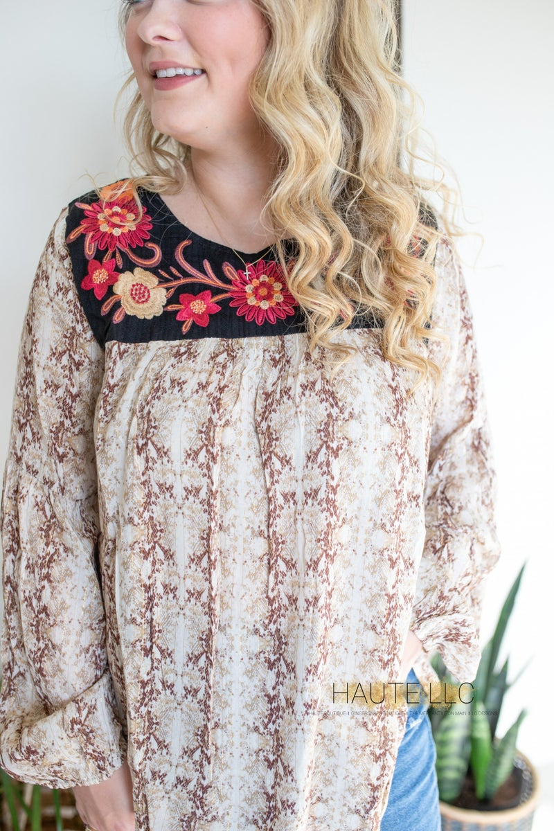 SJ Taupe Snakeskin Top with Embroidery