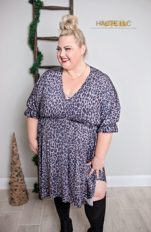 I Adore You - Grey Leopard Dress