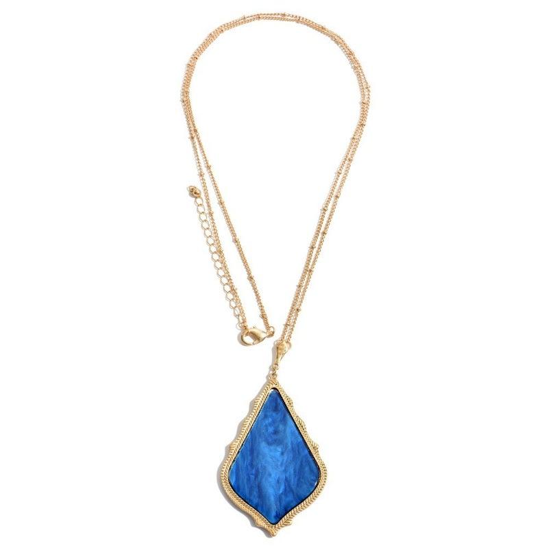 Moroccan Glass Pendant Necklace - Royal Blue
