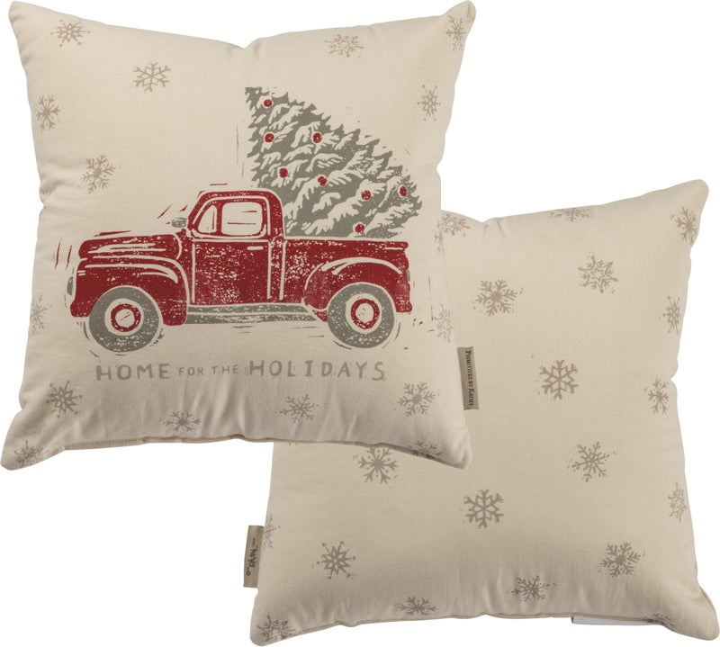 Snowflake and Truck Pillow