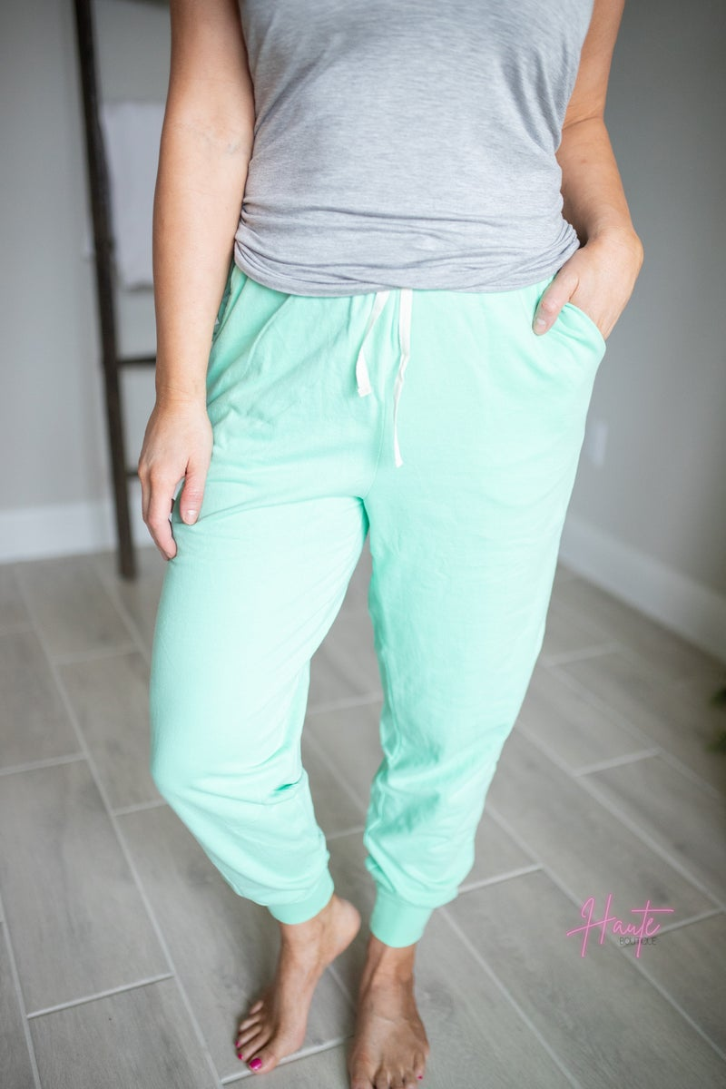 French Terry  Joggers - Green Mint