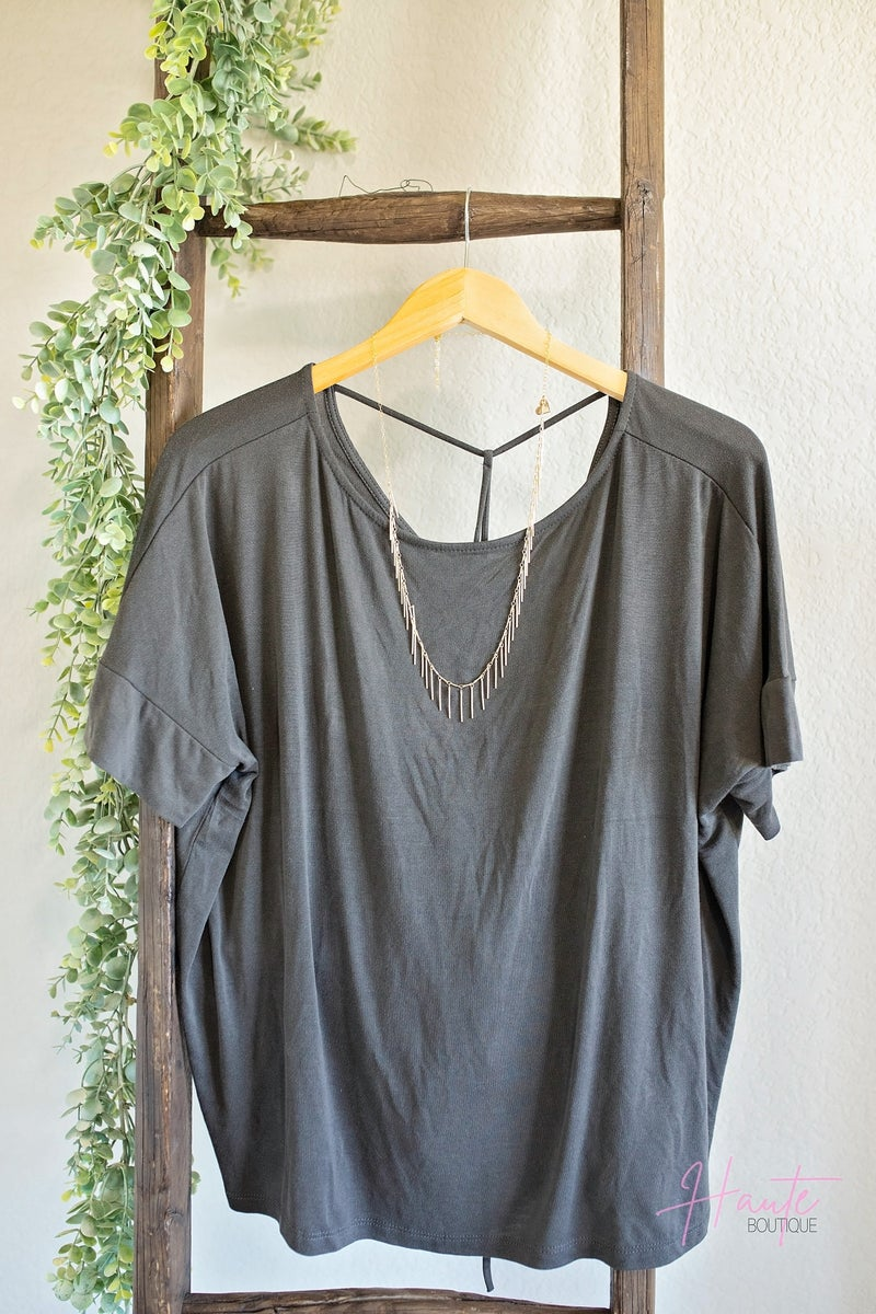 Rachel Ruched Back Top - Charcoal