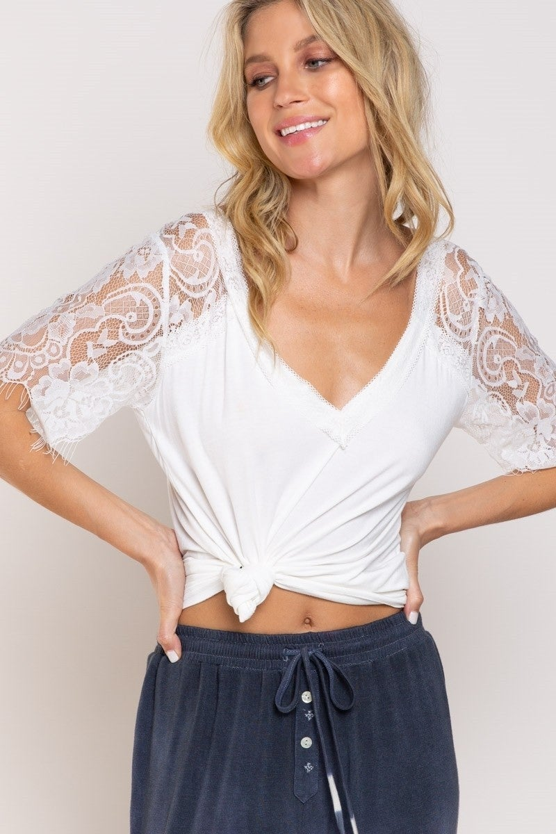 Sweetheart Confession Lace Trimmed Top- Ivory