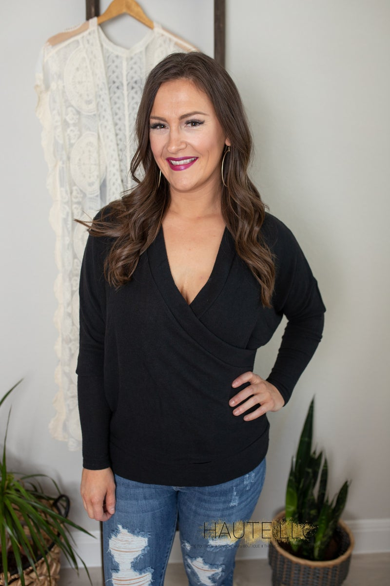 EE Maegan Wrap Sweater Black