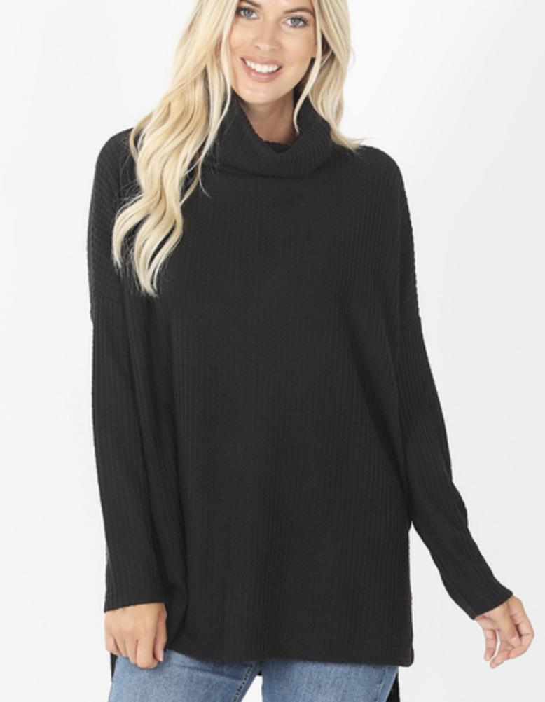 Morgan Waffle Sweater - Black