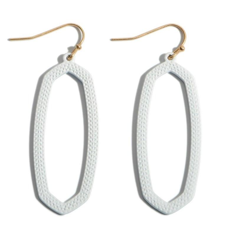 Miss American Pie Oblong Drop Earrings - White