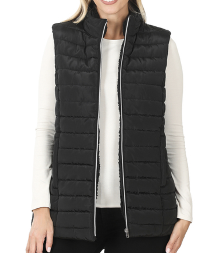 Quilted Sherpa Lined Vest - Black