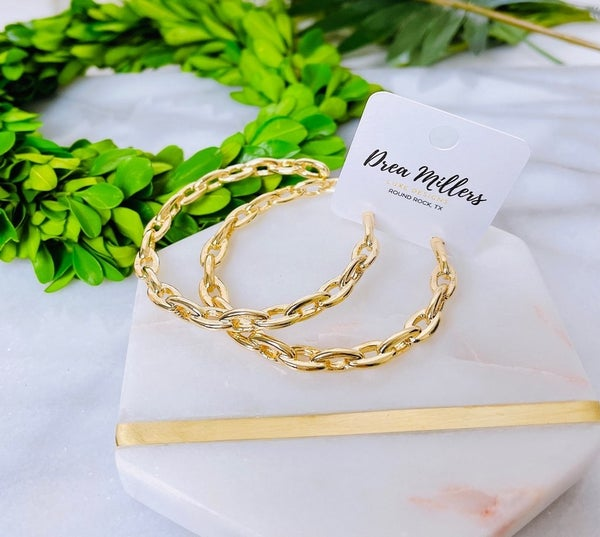 DM Large Gold Chain Hoops