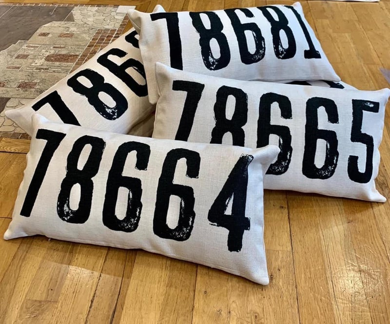 Black Zip Code Pillow