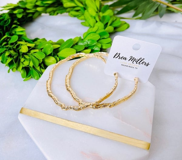 DM Gold Textured Hoops