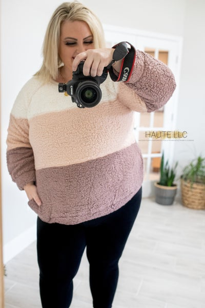 Elena Sherpa Colorblock sweater