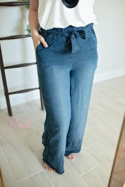 Chambray Paperbag Wide Leg Pants