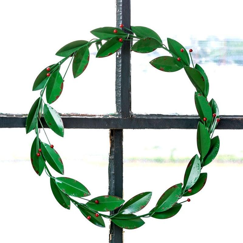 Painted Metal Bay Leaf Wreath