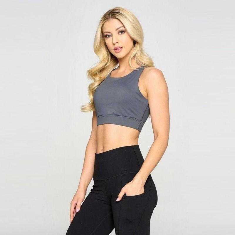 Lattice Back Sports Bra - Charcoal