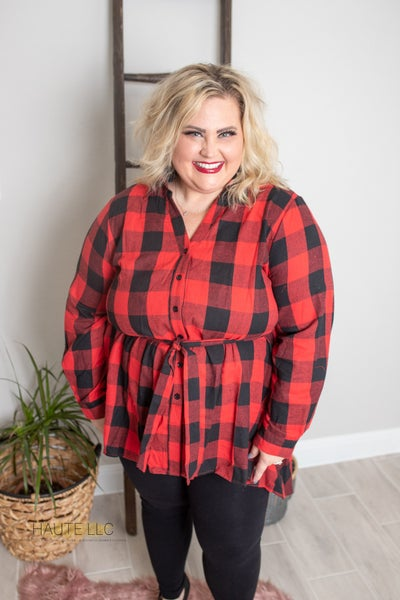 ABU High Low Red Flannel Top