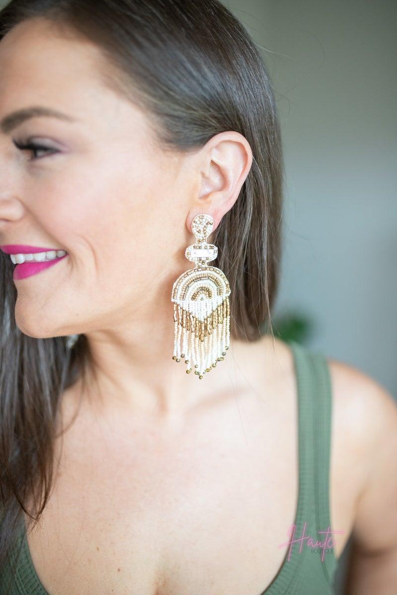 Ivory Statement Tassel Earrings