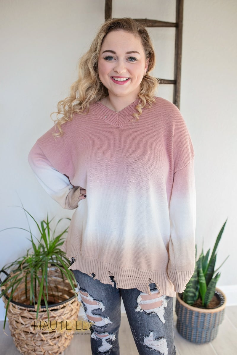 Monica Distressed Ombre Sweater