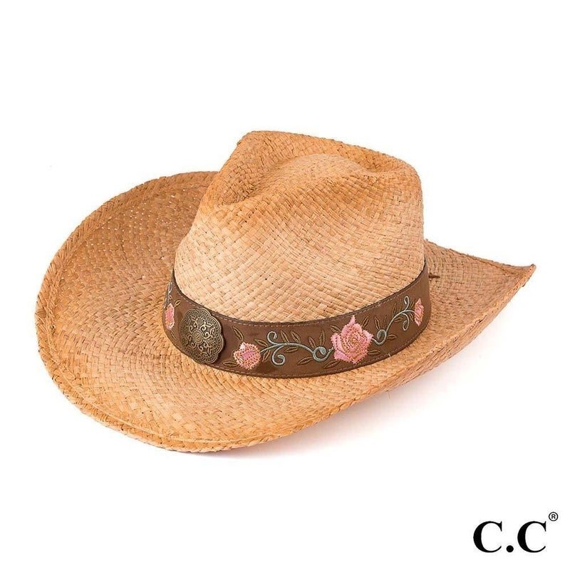 Floral Embellishment Tea Stained Cowboy Hat