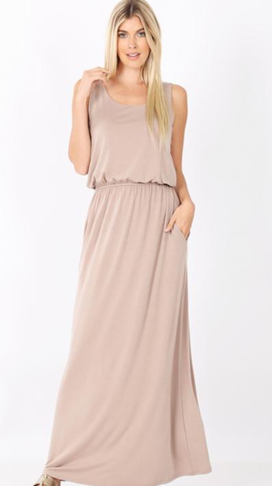 Bubble Top Maxi Dress - Ash Mocha