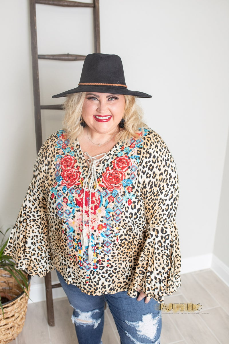 SJ Embroidered Bell Sleeve Leopard Top