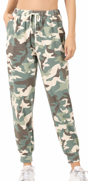 french Terry Camo Joggers - Green