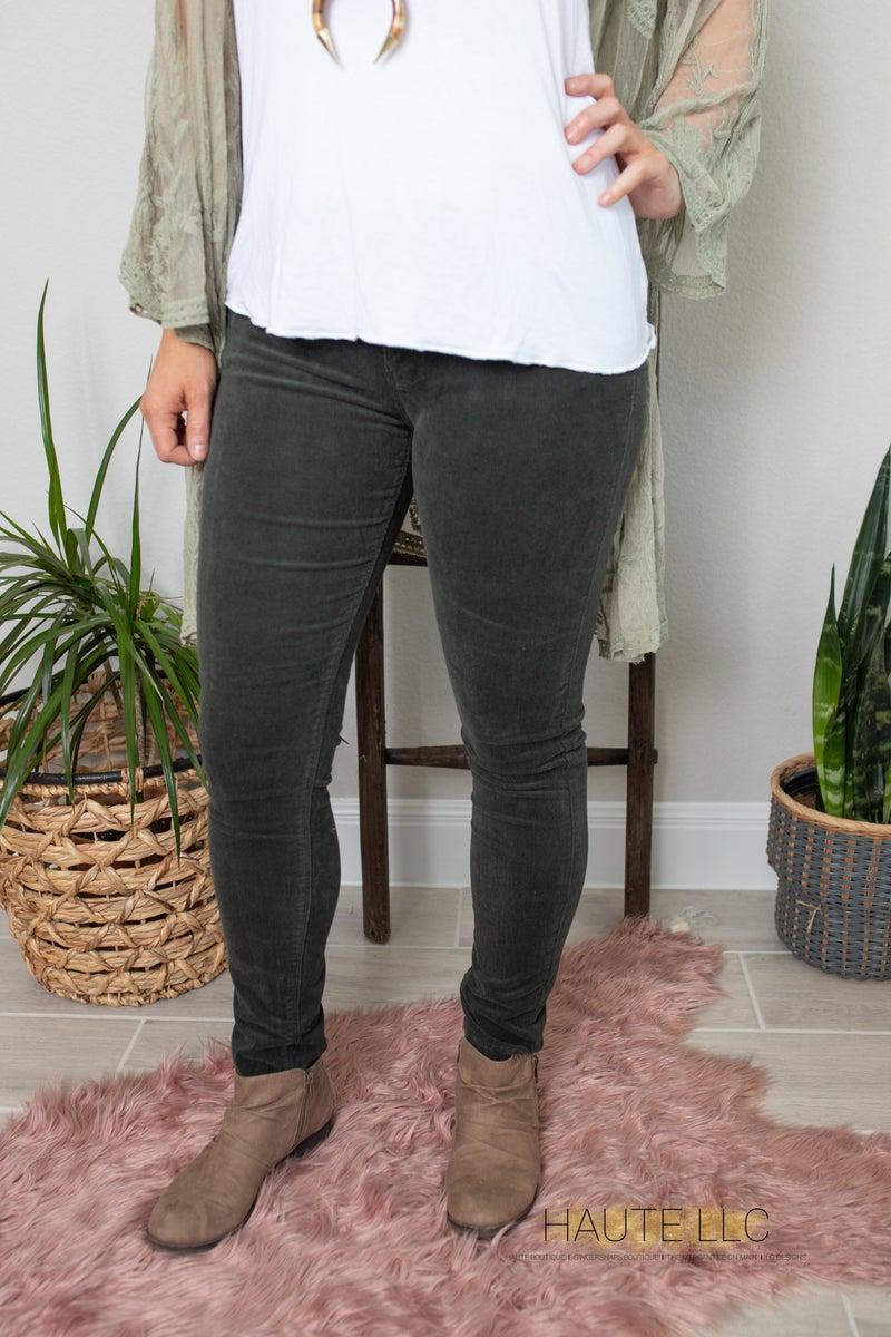 LB Olive Midrise Skinny Corduroy Pants
