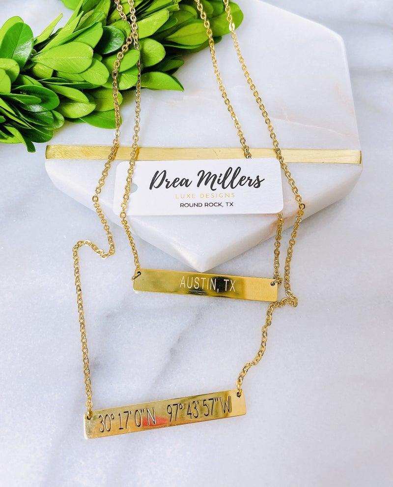 DM Austin Coordinates Bar Necklace
