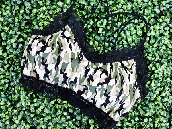 Mila Ribbed Lace Bralette-Camo