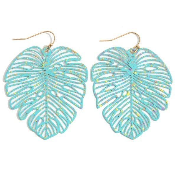 Filigree Leaf Drop Earrings - Splattered Teal