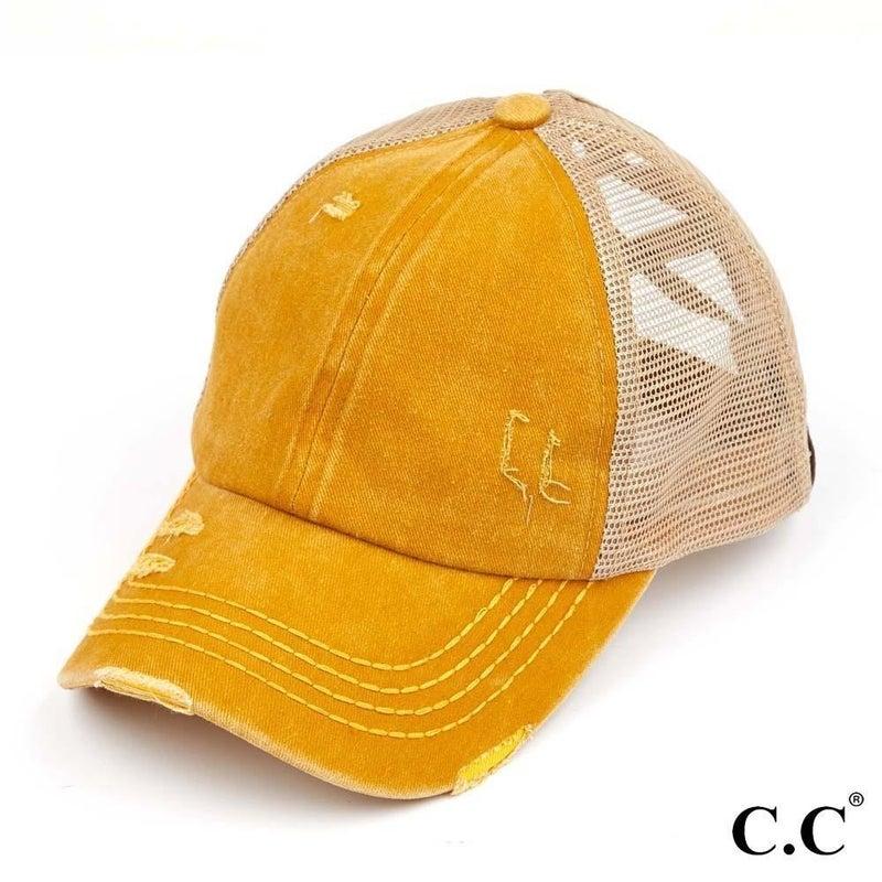 Distressed Pony Tail Cap - Mustard